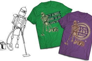 Robot T-shirts And Poster Labels