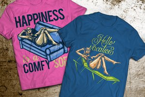 Girl T-shirts And Poster Labels