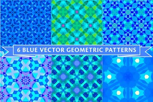 Six blue geometric patterns
