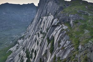 High mountain cliffs in the Ergaki national park, Russia