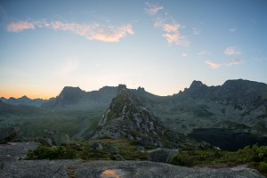 Sunrise in mountains in the Ergaki national park, Russia