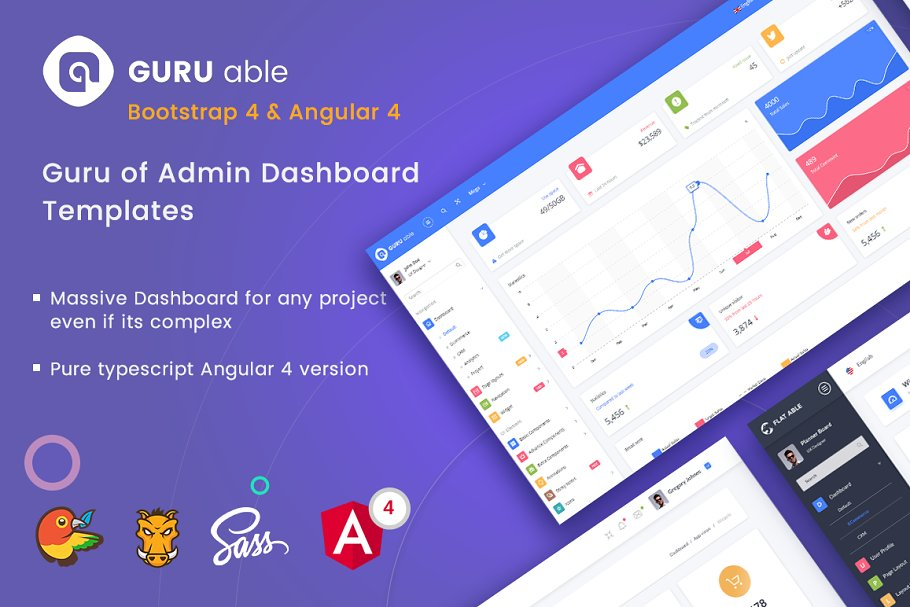 Guru Able BS 4 & Angular 4 Dashboard ~ HTML/CSS Themes ~ Creative Market