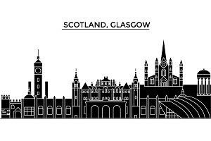 Scotland, Glasgow City architecture vector city skyline, travel cityscape with landmarks, buildings, isolated sights on background