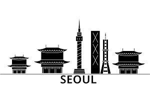 Seoul architecture vector city skyline, travel cityscape with landmarks, buildings, isolated sights on background