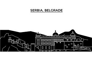 Serbia, Belgrade architecture vector city skyline, travel cityscape with landmarks, buildings, isolated sights on background