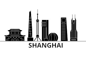 Shanghai architecture vector city skyline, travel cityscape with landmarks, buildings, isolated sights on background