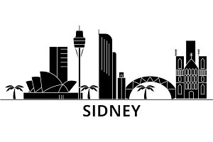 Sidney architecture vector city skyline, travel cityscape with landmarks, buildings, isolated sights on background