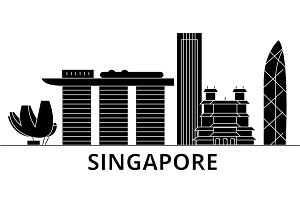 Singapore architecture vector city skyline, travel cityscape with landmarks, buildings, isolated sights on background