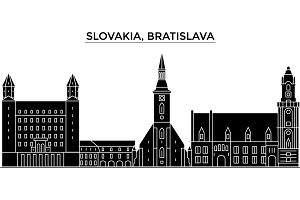 Slovakia, Bratislava architecture vector city skyline, travel cityscape with landmarks, buildings, isolated sights on background