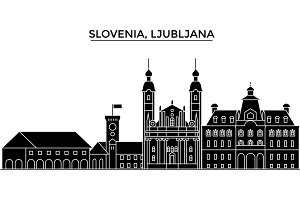 Slovenia, Ljubljana architecture vector city skyline, travel cityscape with landmarks, buildings, isolated sights on background
