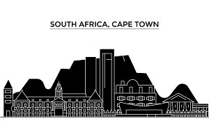 South Africa, Cape Town architecture vector city skyline, travel cityscape with landmarks, buildings, isolated sights on background