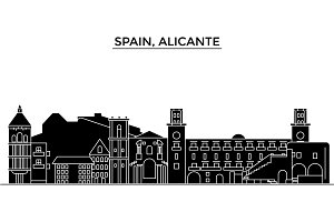 Spain, Alicante architecture vector city skyline, travel cityscape with landmarks, buildings, isolated sights on background