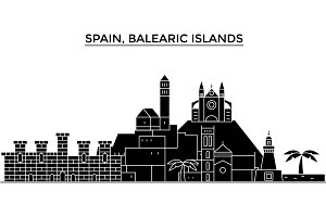 Spain, Balearis Islands architecture vector city skyline, travel cityscape with landmarks, buildings, isolated sights on background