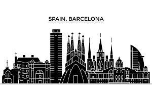 Spain, Barcelona architecture vector city skyline, travel cityscape with landmarks, buildings, isolated sights on background