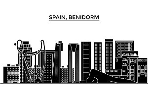 Spain, Benidorm architecture vector city skyline, travel cityscape with landmarks, buildings, isolated sights on background