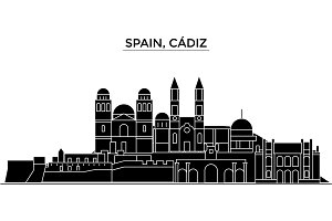 Spain, Cadiz architecture vector city skyline, travel cityscape with landmarks, buildings, isolated sights on background