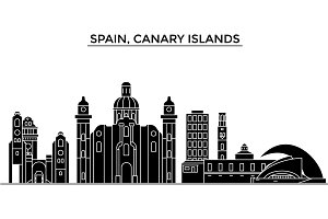 Spain, Canary Islands architecture vector city skyline, travel cityscape with landmarks, buildings, isolated sights on background