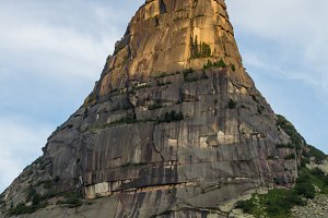 High mountain cliffs in the Ergaki national park, Russia
