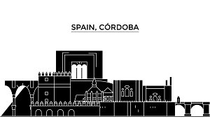 Spain, Cordoba architecture vector city skyline, travel cityscape with landmarks, buildings, isolated sights on background