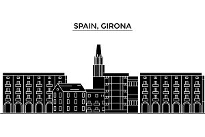 Spain, Girona architecture vector city skyline, travel cityscape with landmarks, buildings, isolated sights on background