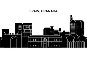 Spain, Granada architecture vector city skyline, travel cityscape with landmarks, buildings, isolated sights on background