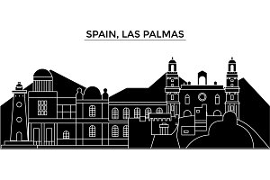 Spain, Las Palmas architecture vector city skyline, travel cityscape with landmarks, buildings, isolated sights on background