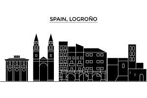 Spain, Logrono architecture vector city skyline, travel cityscape with landmarks, buildings, isolated sights on background