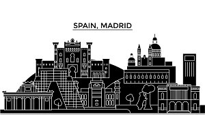 Spain, Madrid architecture vector city skyline, travel cityscape with landmarks, buildings, isolated sights on background