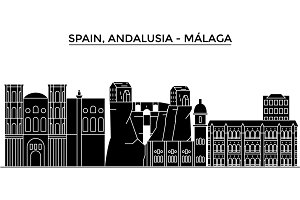Spain, Malaga, Andalusia architecture vector city skyline, travel cityscape with landmarks, buildings, isolated sights on background