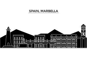 Spain, Marbella architecture vector city skyline, travel cityscape with landmarks, buildings, isolated sights on background