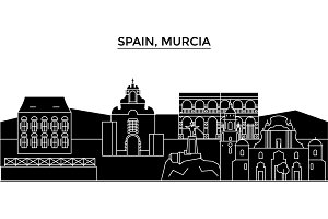 Spain, Murcia architecture vector city skyline, travel cityscape with landmarks, buildings, isolated sights on background