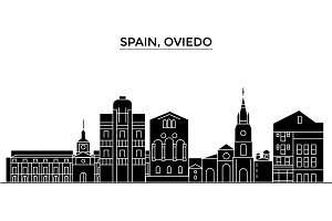 Spain, Oviedo architecture vector city skyline, travel cityscape with landmarks, buildings, isolated sights on background
