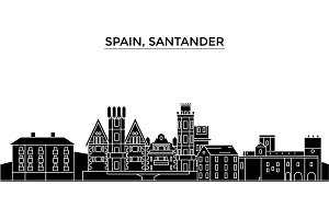 Spain, Santander architecture vector city skyline, travel cityscape with landmarks, buildings, isolated sights on background
