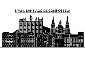 Spain, Santiago De Compostela architecture vector city skyline, travel cityscape with landmarks, buildings, isolated sights on background