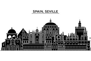 Spain, Seville architecture vector city skyline, travel cityscape with landmarks, buildings, isolated sights on background