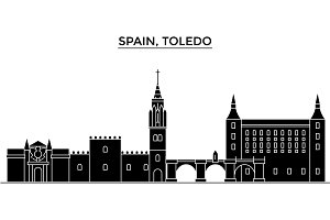 Spain, Toledo architecture vector city skyline, travel cityscape with landmarks, buildings, isolated sights on background