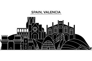 Spain, Valencia architecture vector city skyline, travel cityscape with landmarks, buildings, isolated sights on background