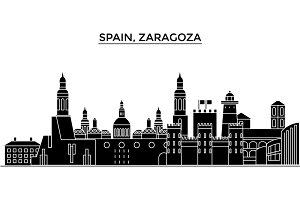 Spain, Zaragoza architecture vector city skyline, travel cityscape with landmarks, buildings, isolated sights on background