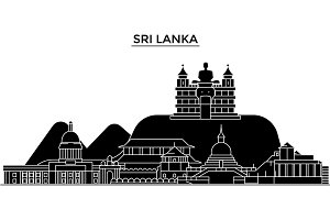 Sri Lanka architecture vector city skyline, travel cityscape with landmarks, buildings, isolated sights on background