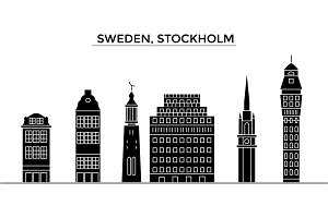 Sweden, Stockholm architecture vector city skyline, travel cityscape with landmarks, buildings, isolated sights on background