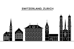 Switzerland, Zurich architecture vector city skyline, travel cityscape with landmarks, buildings, isolated sights on background