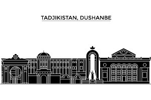 Tadjikistan, Dushanbe architecture vector city skyline, travel cityscape with landmarks, buildings, isolated sights on background