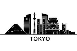 Tokyo Japan architecture vector city skyline, travel cityscape with landmarks, buildings, isolated sights on background