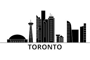 Toronto architecture vector city skyline, travel cityscape with landmarks, buildings, isolated sights on background
