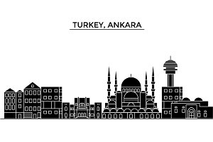 Turkey, Ankara architecture vector city skyline, travel cityscape with landmarks, buildings, isolated sights on background