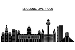 Uk. Liverpool architecture vector city skyline, travel cityscape with landmarks, buildings, isolated sights on background