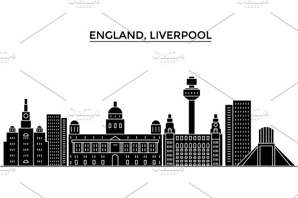 Uk Liverpool Architecture Vector City Skyline Travel Cityscape With Landmarks Buildings Isolated Sights On Background