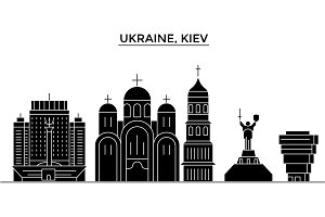 Ukraine, Kiev architecture vector city skyline, travel cityscape with landmarks, buildings, isolated sights on background