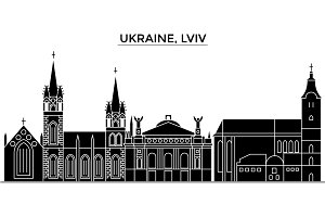 Ukraine, Lviv architecture vector city skyline, travel cityscape with landmarks, buildings, isolated sights on background