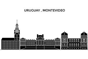 Uruguay , Montevideo architecture vector city skyline, travel cityscape with landmarks, buildings, isolated sights on background